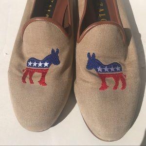 ZALO Democrat Donkey Shoe 8 1/2 loafer needlepoint